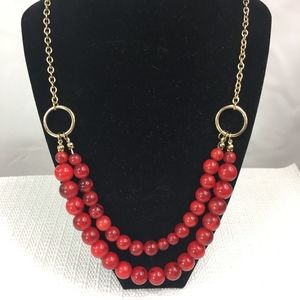 Jewelry - DOUBLE STRAND GOLD CHAIN AND RED BALL NECKLACE 22""